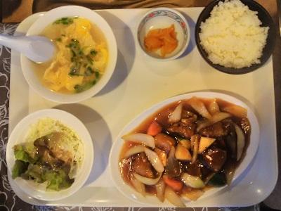 二日市温泉の福龍の酢ぶた定食1