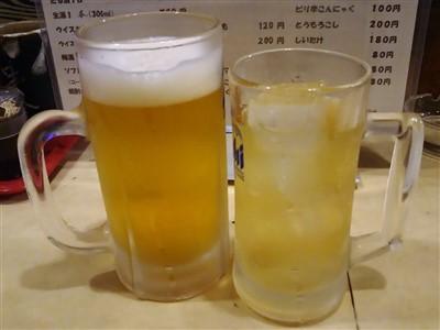 やきとり武蔵の生ビールとハイボール