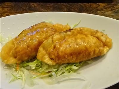吉丁の豆乳鍋コースの揚げ餃子