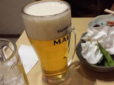 魚吉のせんべろセットの生ビール