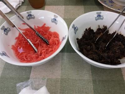 ちくしの太閤ラーメンの紅ショウガと辛子高菜は食べ放題