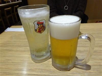 大福うどんで乾杯ビールとハイボール